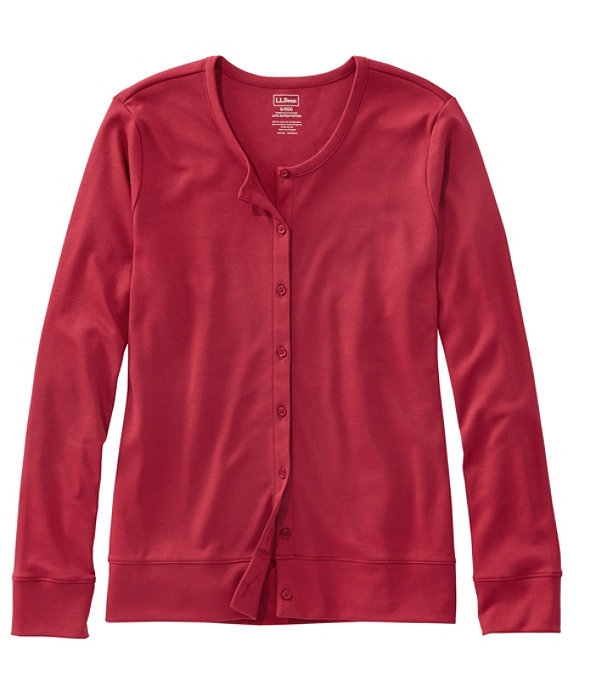 Women's Pima Cotton Button-Front Cardigan, Deep Red, large image number 0