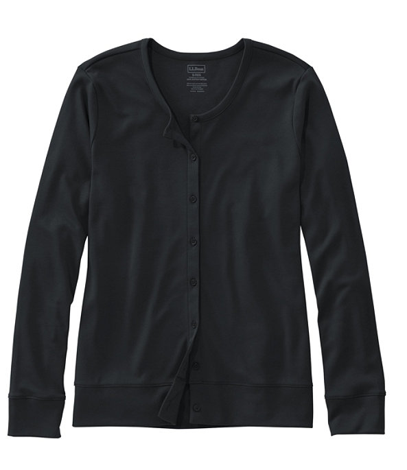 Women's Pima Cotton Button-Front Cardigan, Classic Black, large image number 0