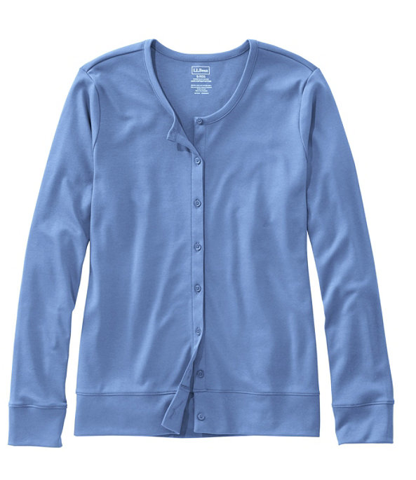 Women's Pima Cotton Button-Front Cardigan, Brightwater Blue, large image number 0