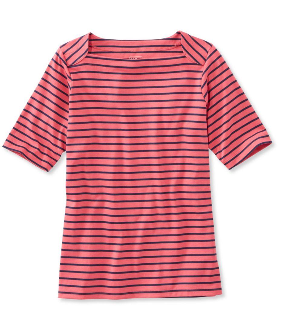 Pima Cotton Tee, Elbow Sleeve Envelope-Neck Stripe