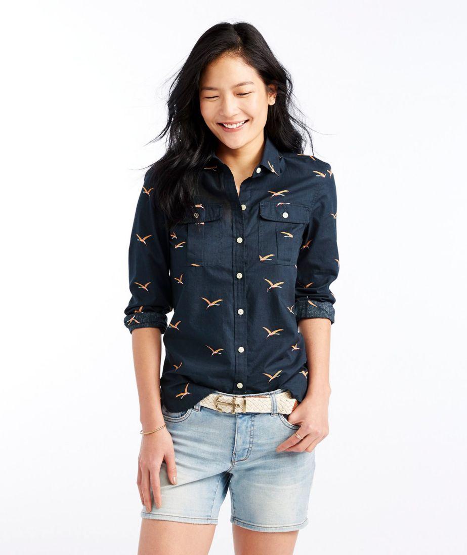 Signature Button-Front Pocket Shirt, Print