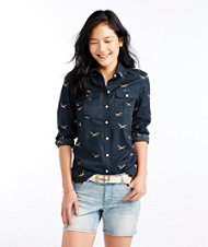 Signature Button-Front Pocket Shirt, Print