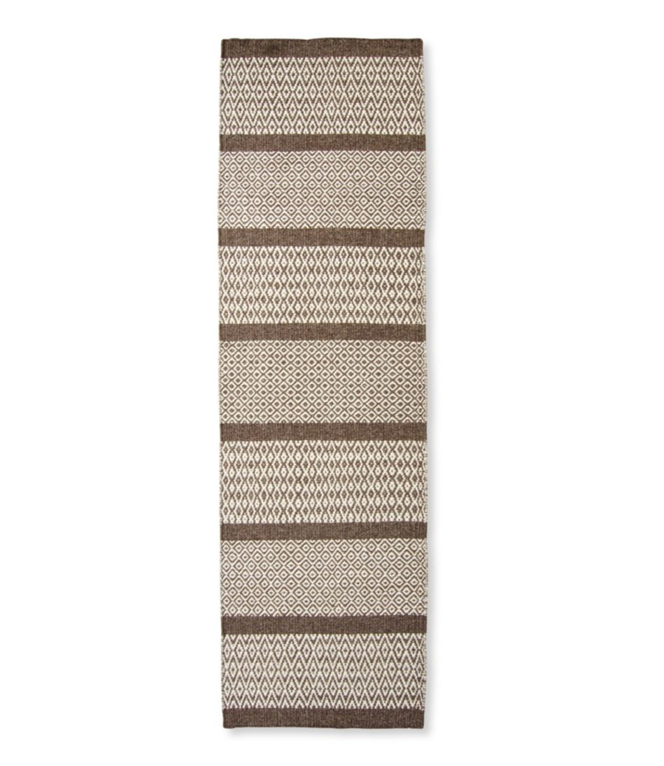 Patterned Wool Flat-Weave Runner, Brown