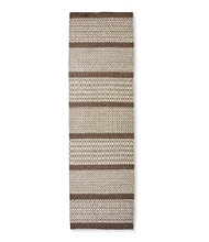 Patterned Wool Flat Weave Runner, Brown