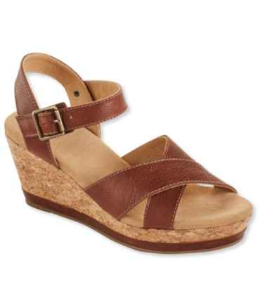 Wedge Strap Sandals, Leather
