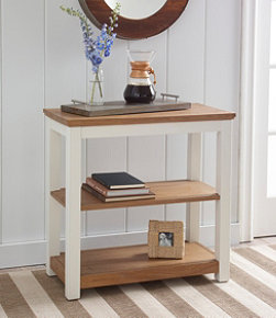 Painted Farmhouse Two-Shelf Console, Wood Top
