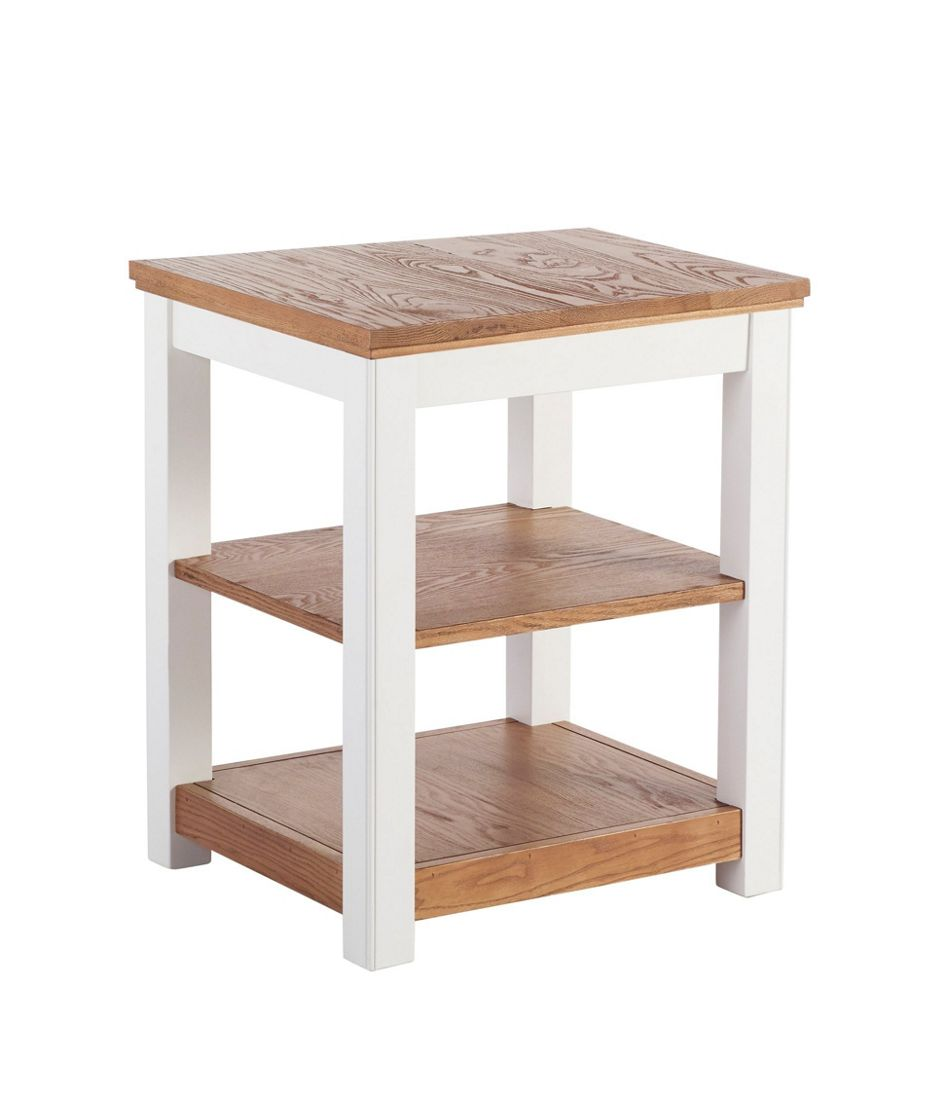 Painted Farmhouse Two-Shelf End Table, Wood Top