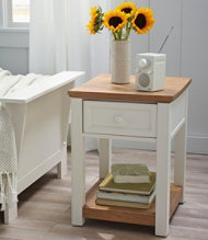 Painted Farmhouse End Table, Wood Top