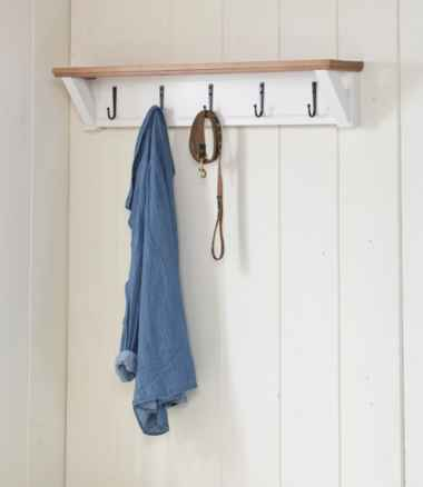 Painted Farmhouse Wall Shelf With Hooks, Wood Top