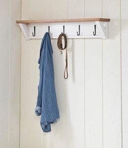 Painted Farmhouse Wall Shelf With Hooks, Wood Top