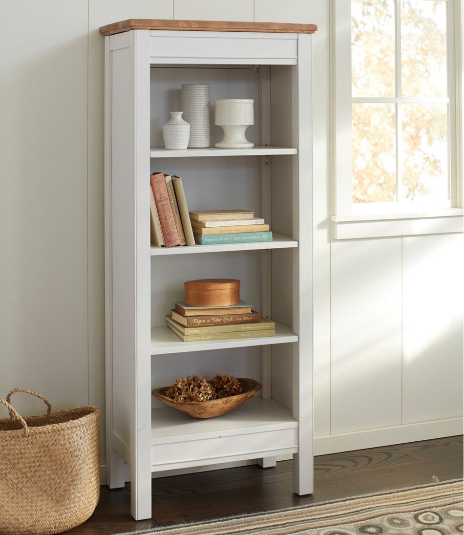 Painted Farmhouse Four-Shelf Bookcase, Wood Top