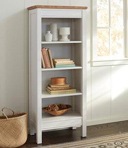 Painted Farmhouse Four-Shelf Bookcase, Wood Top