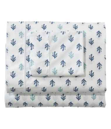 Sunwashed Percale Sheet Collection, Leaf Print