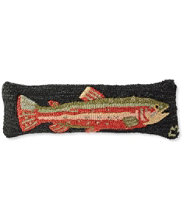 Wool Hooked Throw Pillow, Steelhead Trout