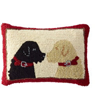 Wool Hooked Throw Pillow, Two Labs