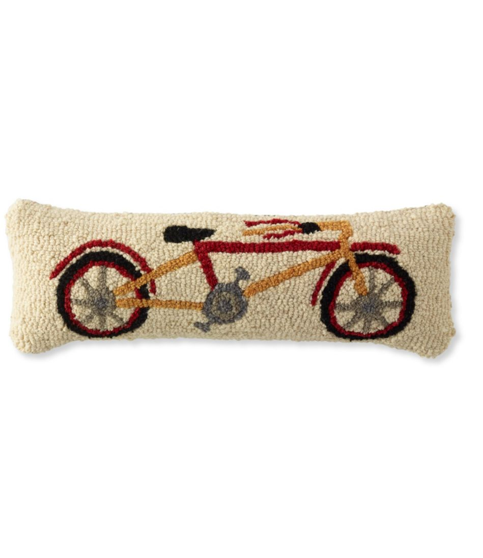 Wool Hooked Throw Pillow, Bike