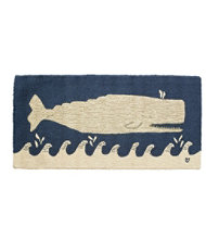 Wool Hooked Rug, White Whale On Navy