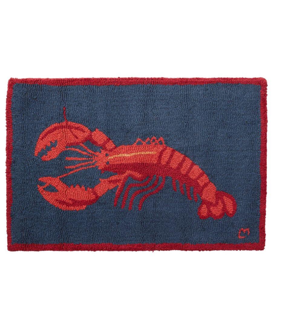 Wool Hooked Rug, Lobster On Navy