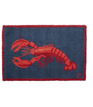 Wool Hooked Rug, Lobster On Navy