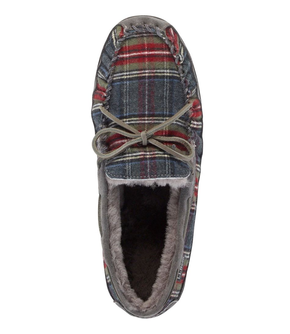 Men's Wicked Good Slipper Moccasins, Plaid Flannel