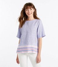 Premium Washable Linen Shirt, Button-Back Pullover Short-Sleeve Multistripe