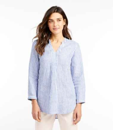 Women's Premium Washable Linen Shirt, Splitneck Tunic Long-Sleeve Stripe