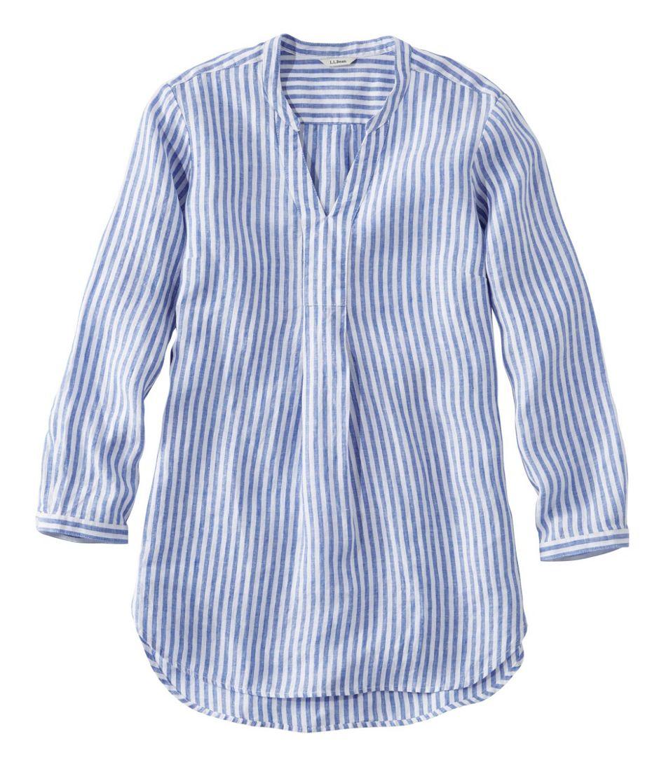 Women's Premium Washable Linen Shirt, Splitneck Tunic Long-Sleeve Stripe