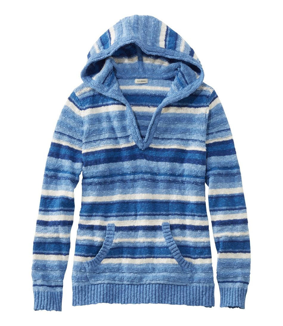 Midweight Cotton Slub Hooded Pullover, Stripe