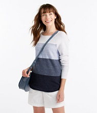 Textured Cotton Sweater, Long-Sleeve Colorblock