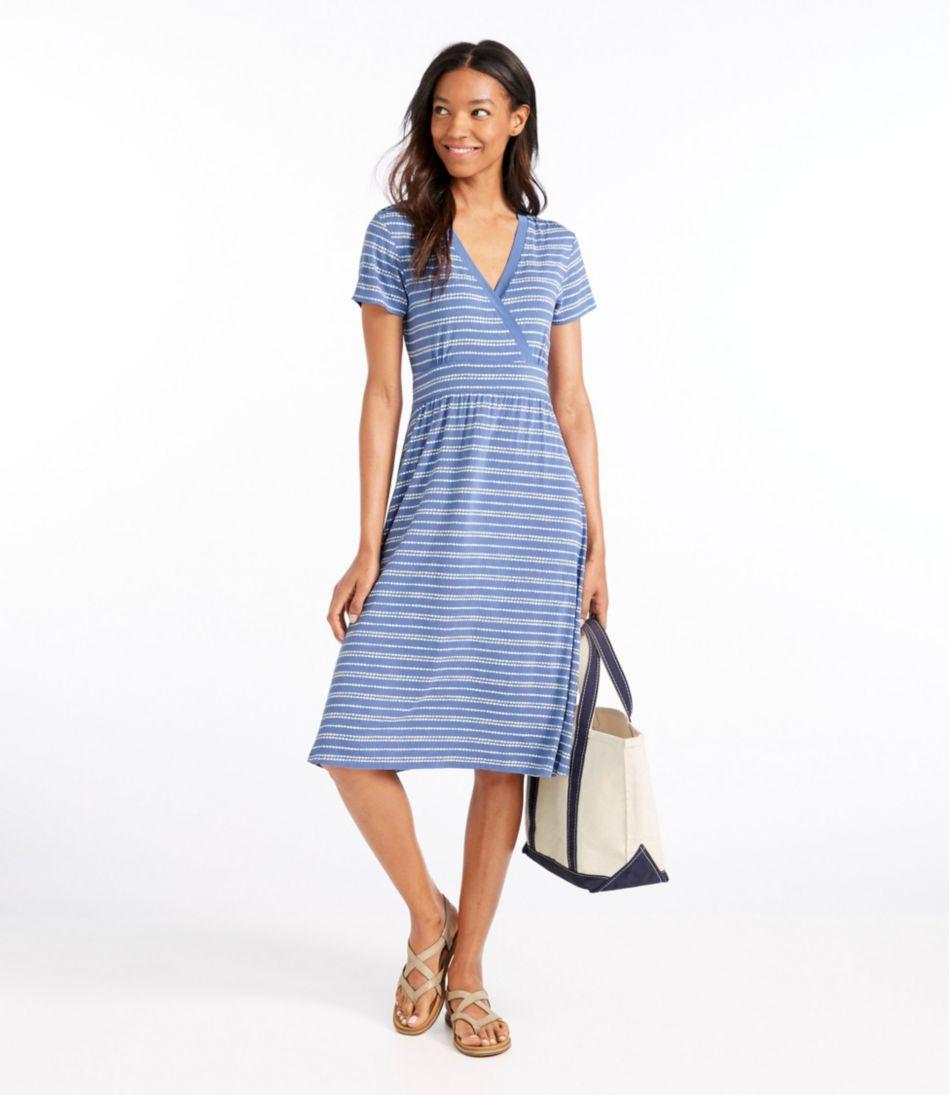 Women's Summer Knit Dress, Short-Sleeve Pebble Stripe Print