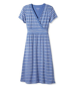 Women's Summer Knit Dress, Short-Sleeve Pebble Stripe Print