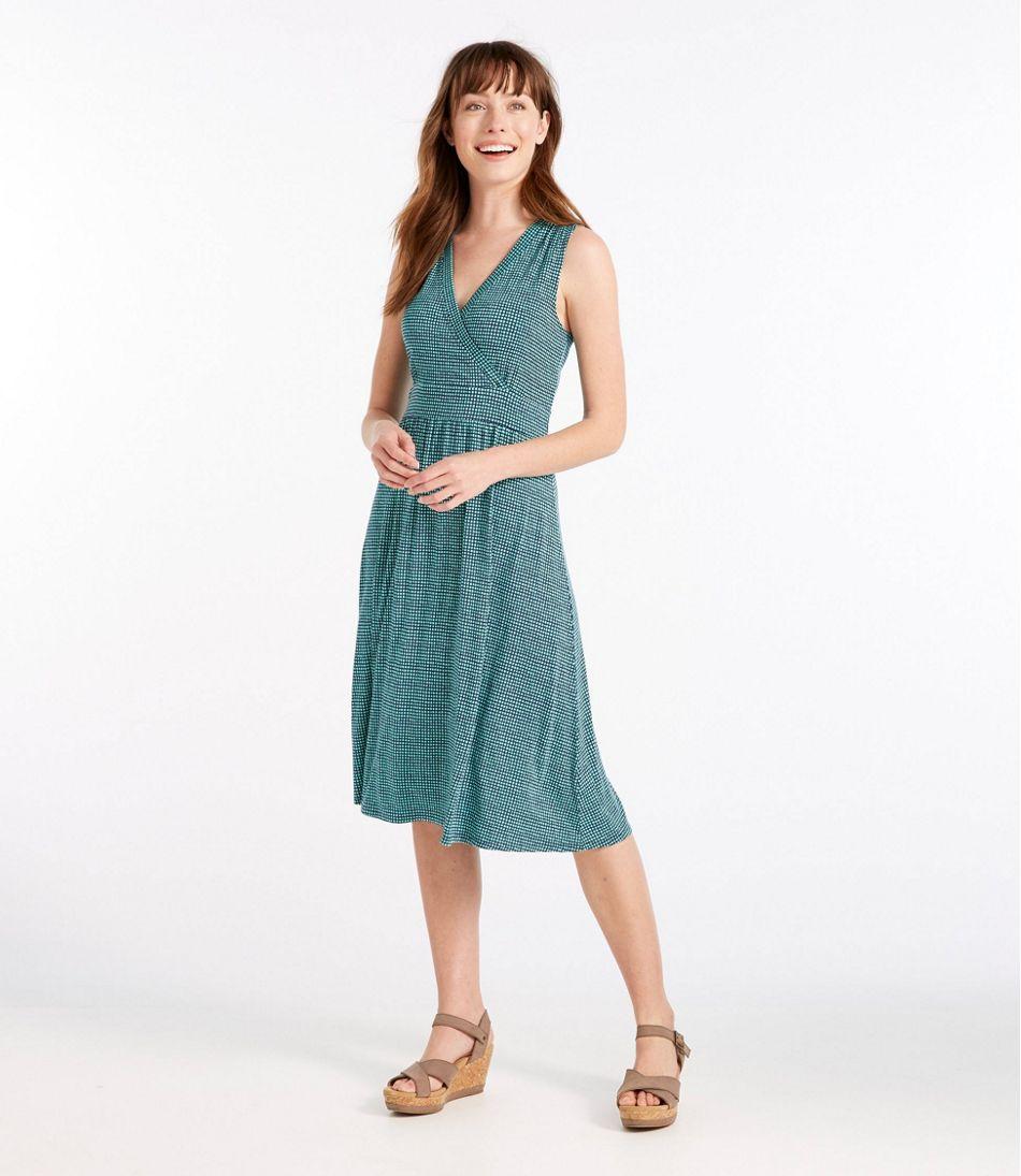 Summer Knit Dress, Sleeveless Printed Grid