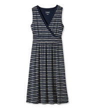 Women's Summer Knit Dress, Sleeveless Pebbles Stripe Print