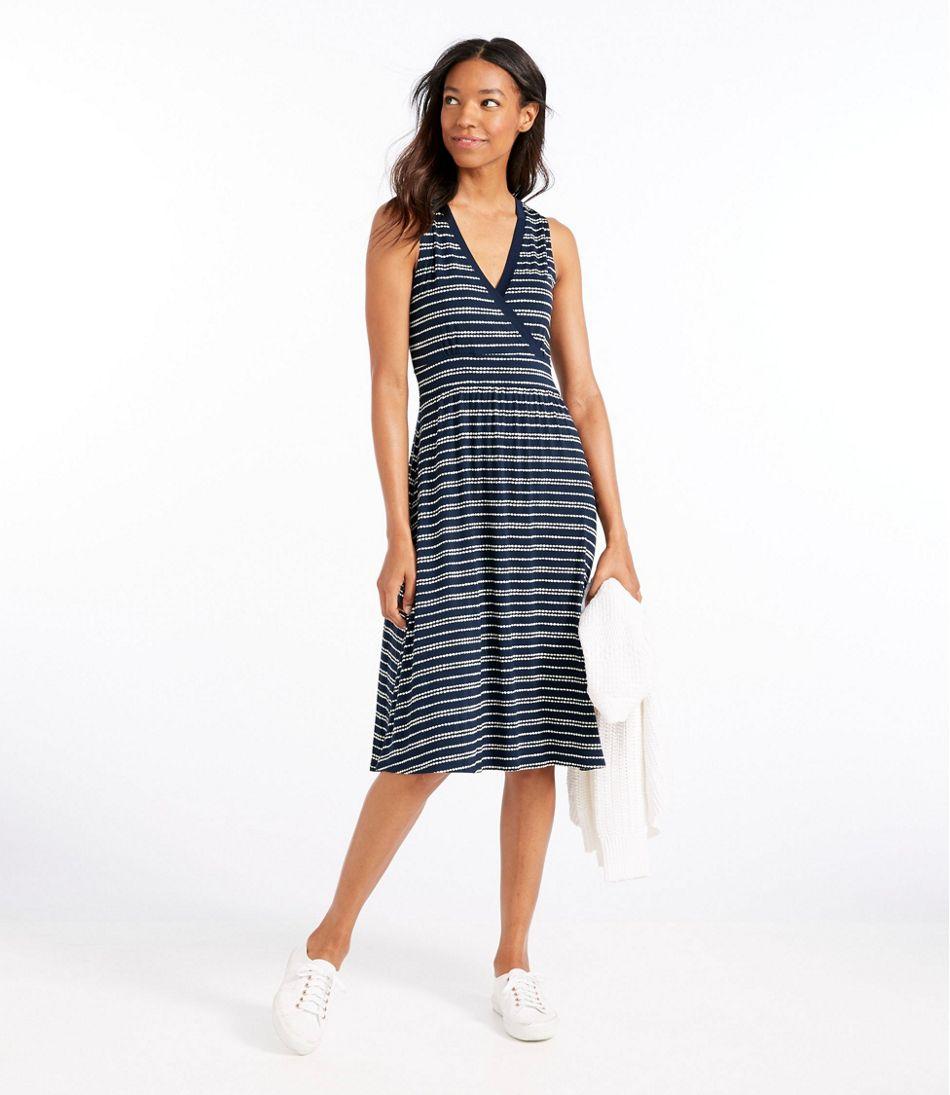 Summer Knit Dress, Sleeveless Pebbles Stripe Print