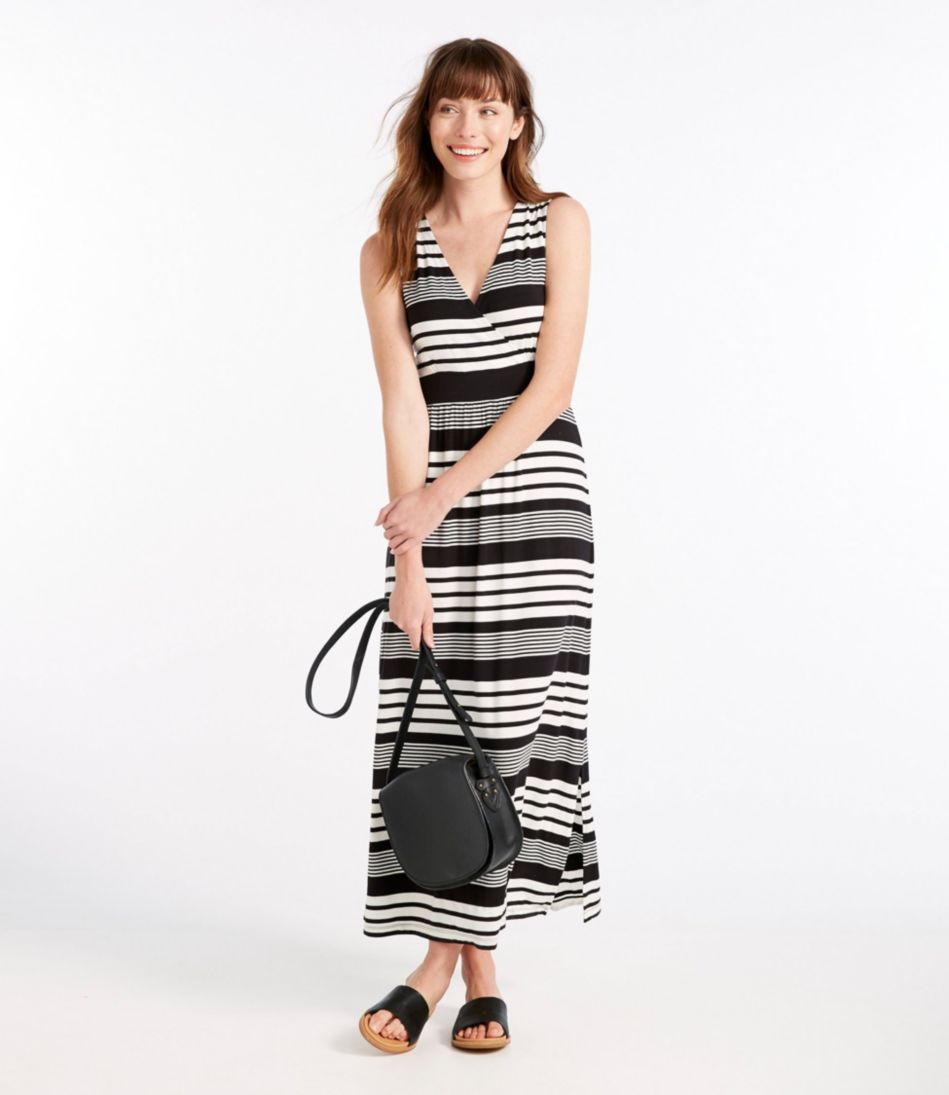 Women's Summer Knit Maxi Dress, Sleeveless Variegated Stripe