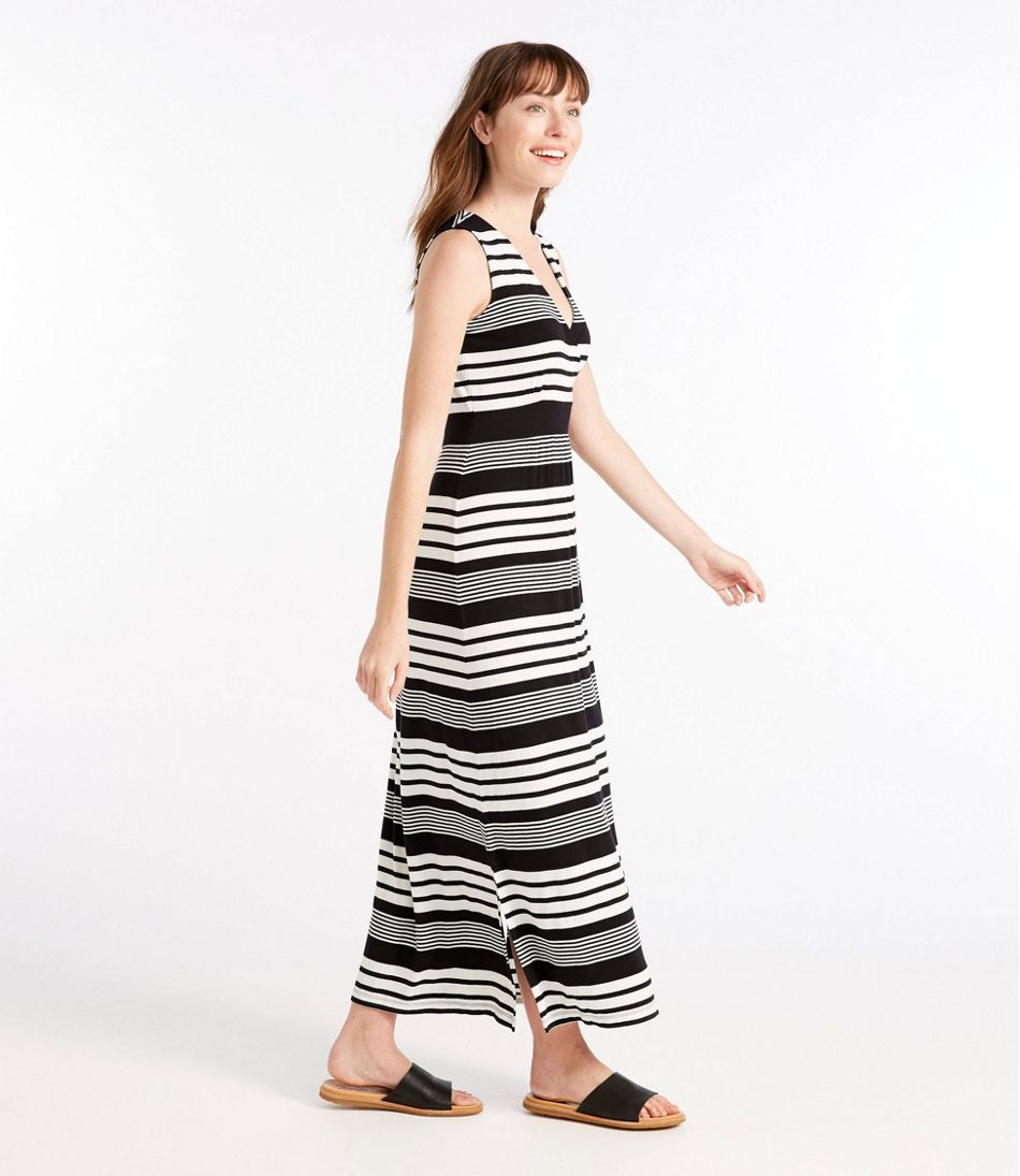 Summer Knit Maxi Dress, Sleeveless Variegated Stripe
