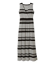 Women's Summer Knit Maxi Dress, Sleeveless Variegated Stripe