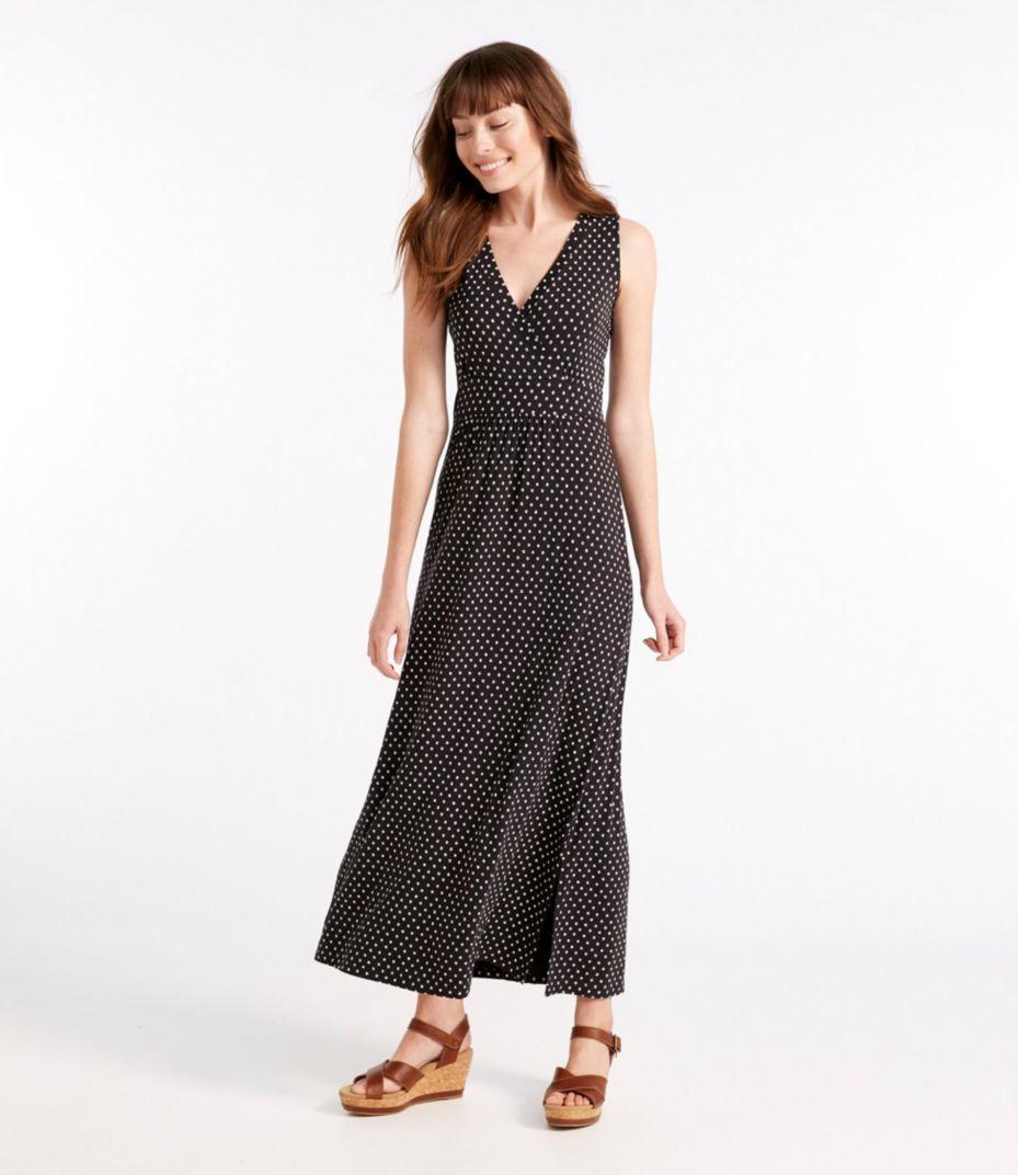 Summer Knit Maxi Dress, Sleeveless Beach Pebbles Print