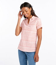 Organic Cotton Tee, Short-Sleeve Splitneck Polo Stripe