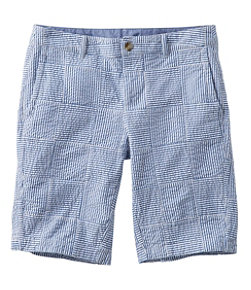Women's Washed Chino Bermuda Shorts, Seersucker Patchwork