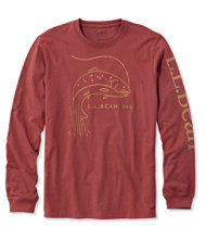 Lakewashed Garment-Dyed Cotton Crewneck Graphic Tee, Slightly Fitted Long-Sleeve Fish Logo