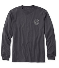 Lakewashed Garment-Dyed Cotton Crewneck Graphic Tee, Slightly Fitted Long-Sleeve Left Chest Mountain