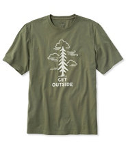 Lakewashed Garment-Dyed Cotton Crewneck Graphic Tee, Slightly Fitted Short-Sleeve Get Outside