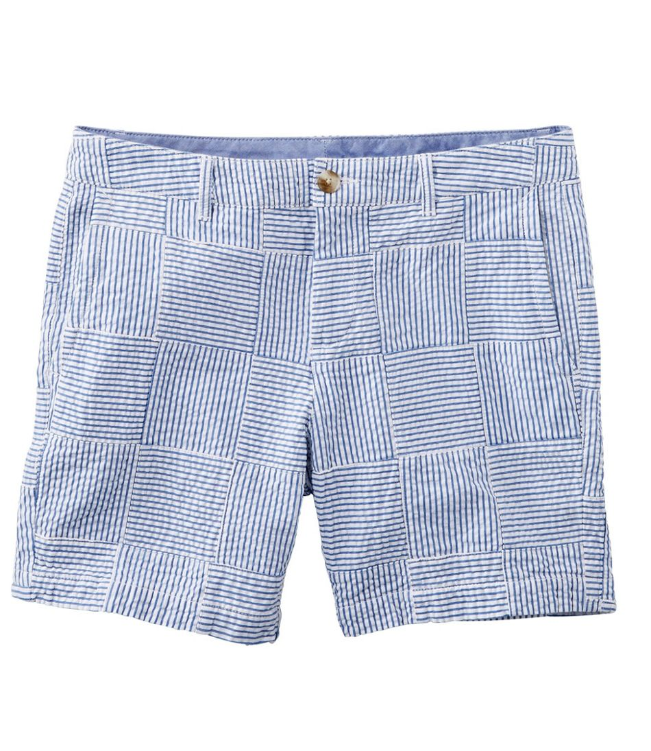 Washed Chino Shorts, Seersucker Patchwork 6""