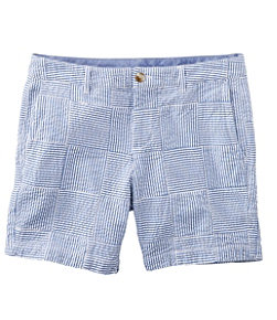 Women's Washed Chino Shorts, Seersucker Patchwork 6""