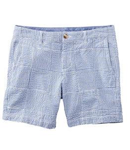 """Women's Washed Chino Shorts, Seersucker Patchwork 6"""""""