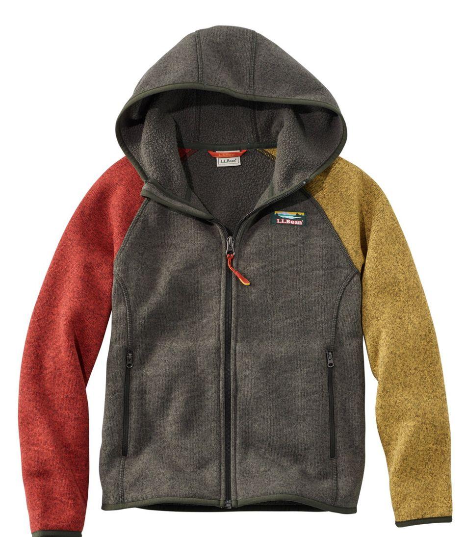 Kids' L.L.Bean's Sweater Fleece, Hooded, Colorblock