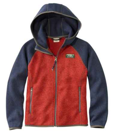 Kids' L.L.Bean's Sweater Fleece, Hooded, Colorblock