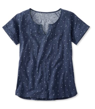 Organic Cotton Tee, Short-Sleeve Splitneck Dot Print