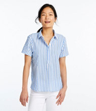 Textured Cotton Popover Shirt, Short-Sleeve Stripe